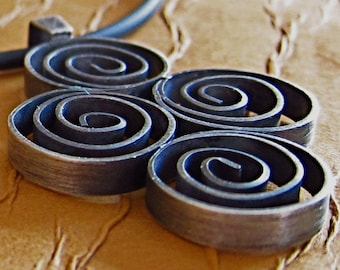 Hand-forged Four Spiral Sterling Silver Pendant
