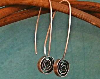 Hand fabricated and Oxidized Sterling Silver Spiral Drop Earrings