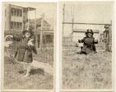 Rare Antique Easter Photos (Lot of 2) 1910s Young Girl with Easter Basket Easter Egg Hunt
