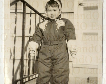 Unique Rare Vintage Photograph of a Young Girl in a Snowsuit 1950s