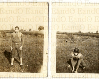 Rare Unique 1920s 1930s Tiny Vintage Photos of Football Player or Leatherhead Lot of Two