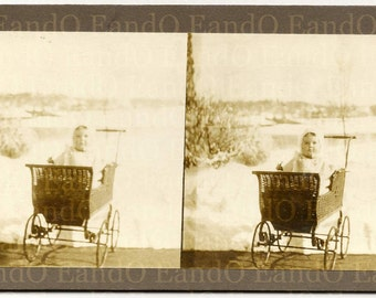 Antique Very Unique Private 3 D Stereoview Card Baby in a Carriage Pram Stroller Buggy 1900s 1910s