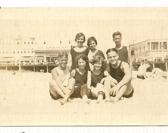 Antique Photo Swimmers at the Beach 1920s