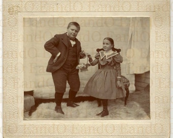 Exceptional Rare Antique Cabinet Card Easter Portrait of Brother and Sister - Hilarious, Very Unusual
