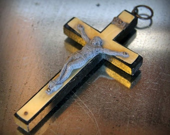 Fantastic Antique Early 20th Century Crucifix Celluloid, Wood and Paste Metal French
