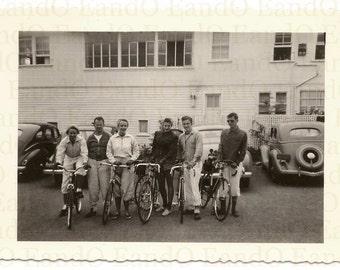 Vintage Photo. Bike Club. Bicycles. 1940s. Cyclists.