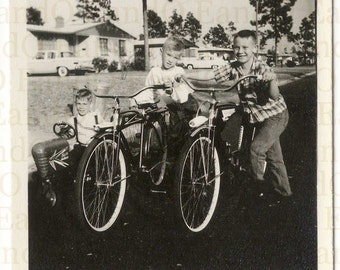 Fantastic Vintage Photo Boys with their Bicycles 1950s Americana
