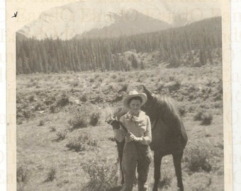 Vintage Photograph of a Young Woman with her Horse 1930s 1940s Rocky Mountains