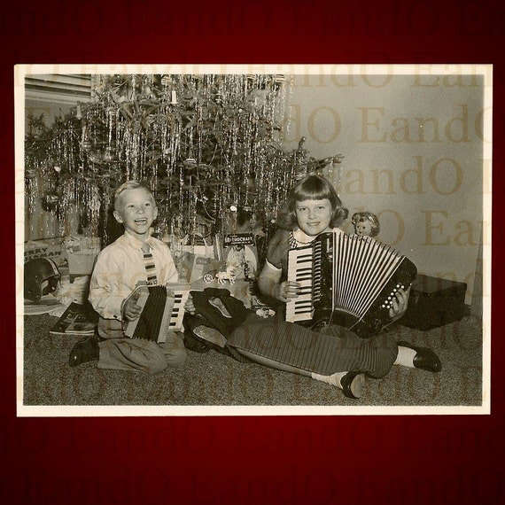 1950 Christmas Toys For Boys : Rare photo christmas toys little girl boy accordions s