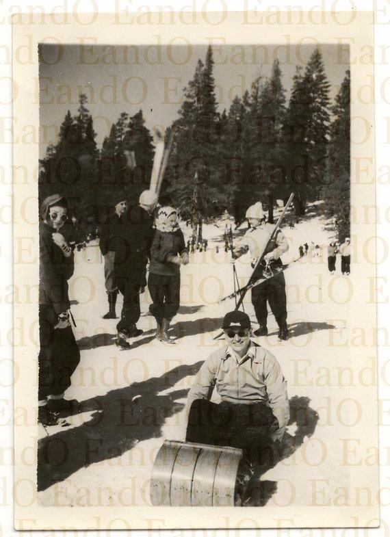 Fantastic Vintage Photo 1950s Ski Slope Skiers, Sledders, A Day on the Slopes