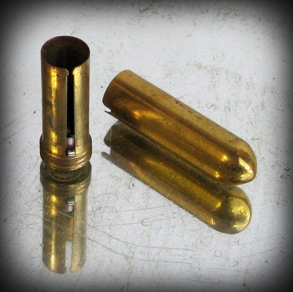 Vintage Brass Bullet Lipstick Case Revlon 1950s 1960s Mad Men Mid Century Chic