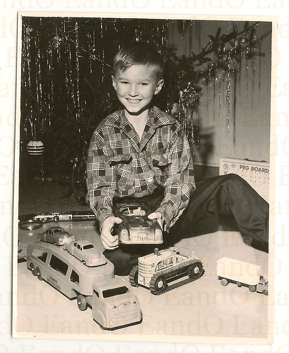 1950 Christmas Toys For Boys : Rare s christmas photo boy with his toy cars trucks and