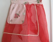 vintage red apron with rickrack