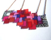 """geometric square shrink plastic necklace """"love squared"""" - pink purple red gray"""