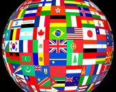 World Flags Sew on Patch-es Mature National Pride Diverse People Groups Humanity One Earth World Nations Flags Giclée Art Print FREE S/h MbG