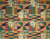 Kente Gold Masks Africana 100% Cotton 44/45 Fabric Yardage New Rare Limited FREE S/h MBG Cloth Quilt Pillow Panel Craft Supply