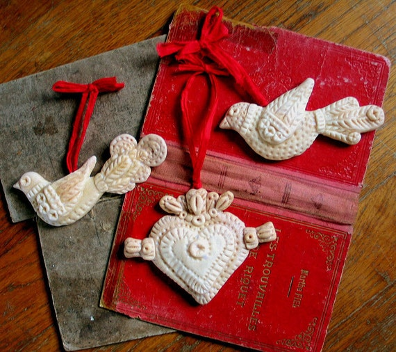 Ornaments Scandinavian Style Folk Art Birds and Heart  Valentines Christmas Yule custom order