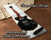 Guitar Cuff // Bracelet Pattern // Bracelet // Black // Peyote Stitch