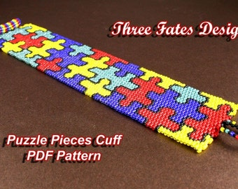 Peyote Bracelet Pattern, Cuff Pattern, Puzzle Piece, Colorful, Jigsaw, Instant Download