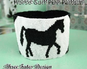 Horse // Peyote Cuff Pattern // Black and White // Bracelet Pattern // Gourd Stitch // Instant Download
