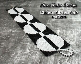 Modern Circles // Beaded Cuff Pattern // Peyote Stitch // Gourd Stitch // Bracelet Pattern
