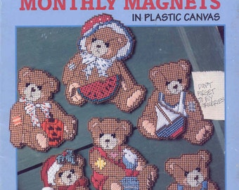 Cherished Teddies Monthly Magnets ~  plastic canvas book  ~ Used