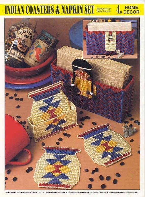 Indian Coasters And Napkin Set Plastic Canvas Pattern