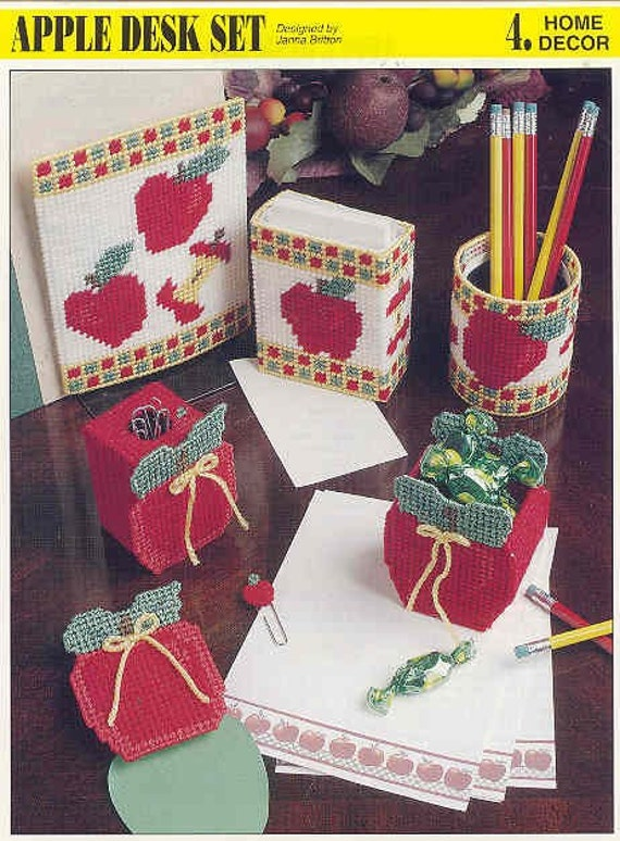 Apple Desk Set Plastic Canvas Pattern By Puddinpop On Etsy