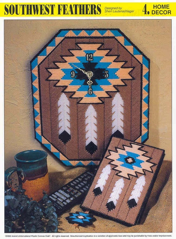Southwest Feathers Plastic Canvas Pattern Clock