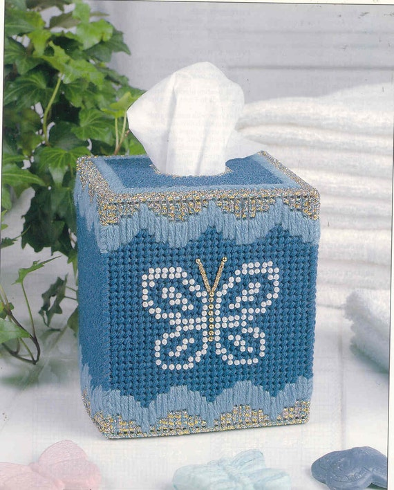 Butterfly Pearls Tissue Box Cover Plastic Canvas Pattern