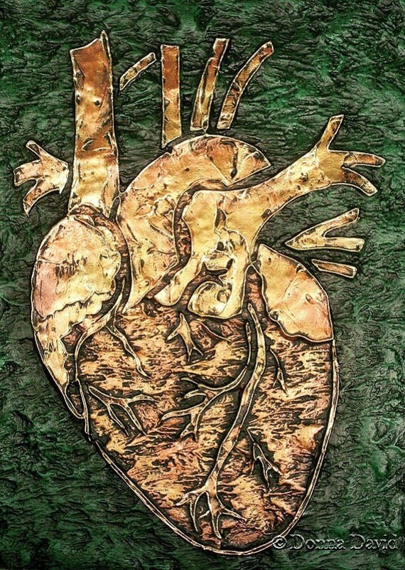 ANATOMICAL HEART SERIES,  Original Textured Artwork by Donna David--CliCk for Full Size