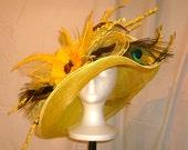 Kentucky Derby Hat, Yellow, Large double Brim, Award Winning Hat Design