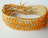 Neon Orange Crochet beaded wrap bracelet, necklace, Summer Fashion, TOHO glass seed beads