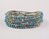 Boho Chic Crochet multi wrap bracelet, necklace, headband, Cornflower Blue seed beads