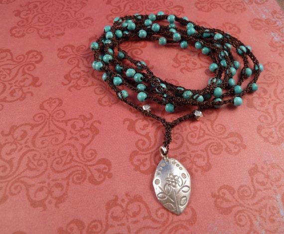 Crochet Wrap, Thai Silver and turquoise, bracelet, necklace