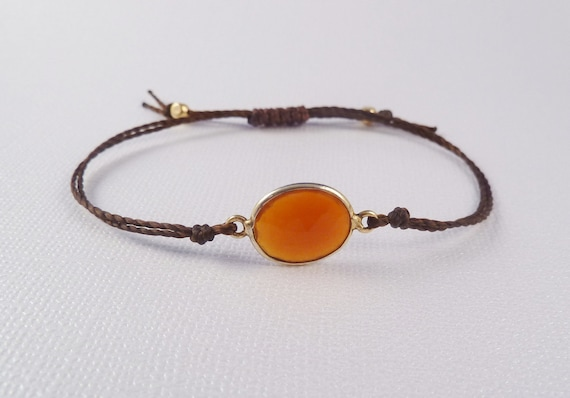 Stackable Gemstone Friendship bracelet, Carnelian connector on waxed thread