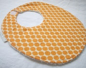 Full Moon Polka Dot in Tangerine - Boutique Bib - Amy Butler fabric with snag free velcro