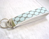Wristlet Key Fob Key Chain in Amy Butler Full Moon Polka Dot in Slate