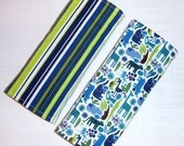 Reversible Car Seat Strap Covers - Teeny Tiny 2D Zoo in Pool with Stripes