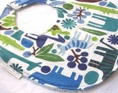 Baby Boy or Toddler Boy Bib - 2D Zoo in Blue - Boutique Bib with terry cloth backing with snag-free Velcro closure