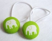 Elephants on Lime - Ponytail holders - fabric covered button hair ties