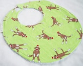Sock Monkeys on Lime - Baby Girl or Baby Boy Boutique Bib - terry cloth backing with snag free velcro closure