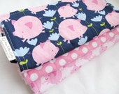 Baby Girl Burp Cloth Gift Set - Get Together - Pink Pigs and Polka Dots - Set of 3 burp pads with terry cloth backing