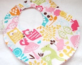 Baby Girl Bib or Toddler Girl Bib - Forest Life in Watermelon - cotton bib with terry cloth backing