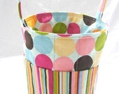 Creative Kids Art Bucket - Modern Sweetie Dots with Stripe - Fabric Basket Organizer for art supplies and more