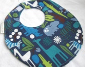 Baby Boy or Toddler Boy Bib - 2D Zoo in Navy - Boutique Bib with terry cloth backing with snag-free Velcro closure