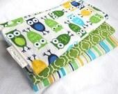 Baby Boy Burp Cloth Gift Set - Owls in Blue - Set of 3 Coordinating Burp Pads