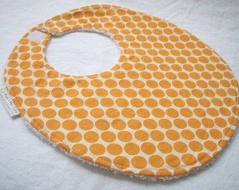 Full Moon Polka Dot in Tangerine - Boutique Bib - Amy Butler fabric