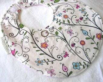 Regans Blooms - Boutique Bib - pink terry cloth backing w snag free velcro closure