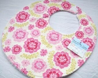 Sweet Pink - Baby Girl Bib Boutique Bib - terry cloth backing - Sandi Henderson Farmers Market Floral in Pink